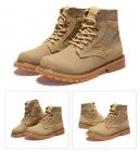 冬季新款工装靴真皮马丁短靴沙漠靴高帮男鞋英伦潮流百搭保暖冬鞋K607黄棕跟黑色