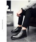 浅末秋冬加绒切尔西靴子牛皮马丁靴欧美男士皮短靴后拉链皮靴工89056,尺码38-44(加绒,皮款)